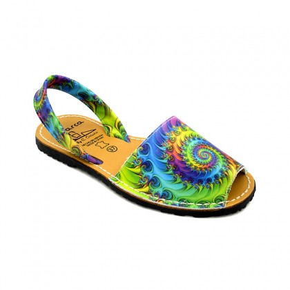Woman Leather Menorcan Sandals Spiral Print 337AV Green, by C. Ortuño