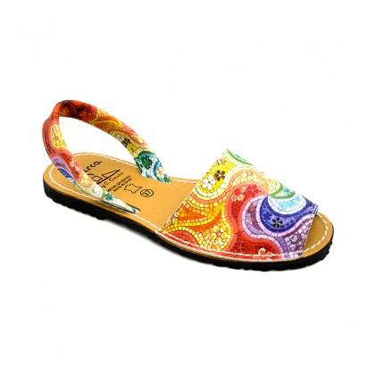 Woman Leather Menorcan Sandals Stained Glass 355AV Multi, by C. Ortuño