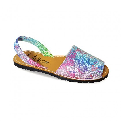 Woman Leather Menorcan Sandals Plant Motifs 381AV Multicolor, by C. Ortuño