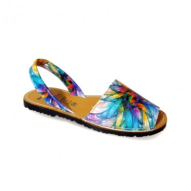 Woman Leather Menorcan Sandals Dragonfly Wings 383AV Multicolor, by C. Ortuño