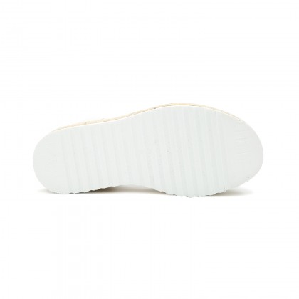 Woman Leather Crossed Menorcan Sandals Platform 8394 White, by C. Ortuño