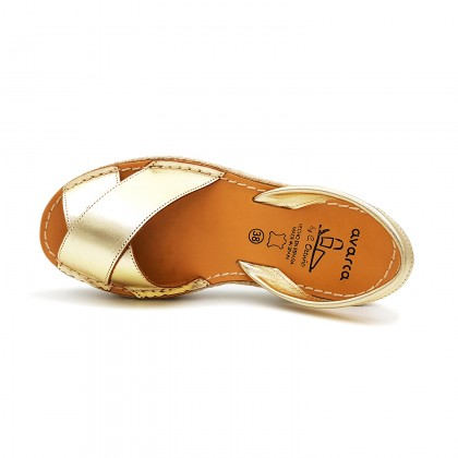 Woman Metallic Leather Menorcan Sandals Platform 8394 Gold, by C. Ortuño
