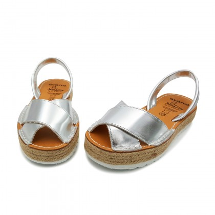 Woman Metallic Leather Menorcan Sandals Platform 8394 Silver, by C. Ortuño