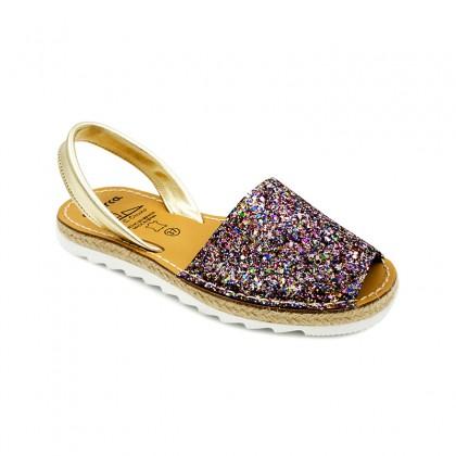 Woman Leather Menorcan Sandals Glitter Esparto Platform 6275 Multicolor, by C. Ortuño