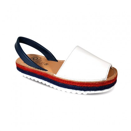 Woman Leather Menorcan Sandals Esparto Sole 8411 Navy, de C. Ortuño