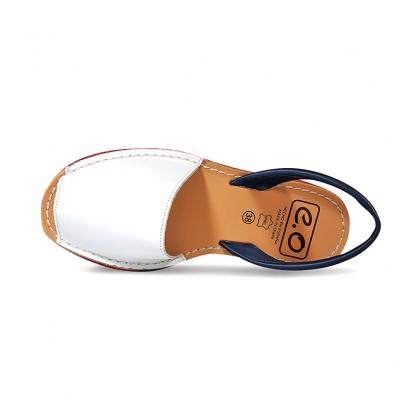 Woman Leather Menorcan Sandals Esparto Sole 8411 Navy, de C. Ortuño