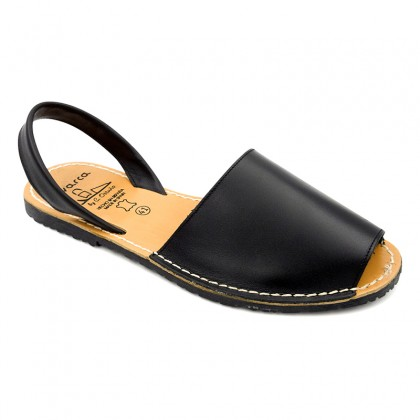 Man Leather Basic Menorcan Sandals 201-C Black, by C. Ortuño