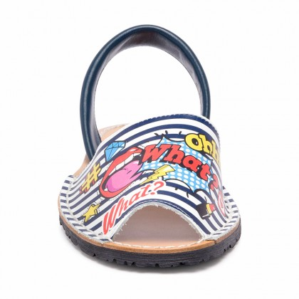 Woman Leather Menorcan Sandals Ohhh What? Print 402AV Navy, by C. Ortuño