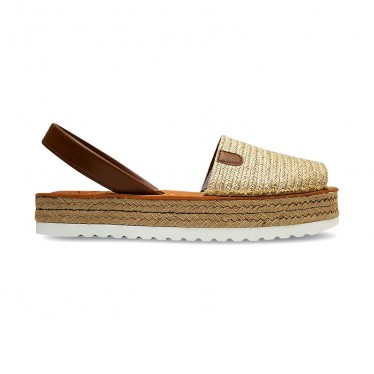 Woman Leather Jute Menorcan Sandals Platform Cushioned Insole 9421 Leather, by C. Ortuño