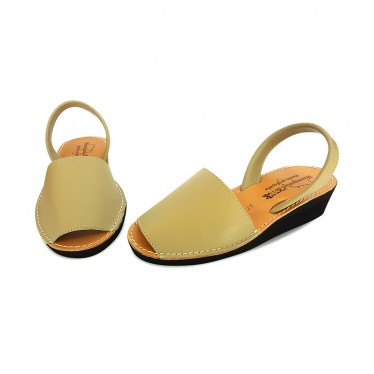 Woman Wedged Leather Basic Menorcan Sandals 552 Beige, by Pisable