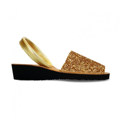 Woman Leather Wedged Menorcan Sandals Glitter 562 Gold, by Pisable