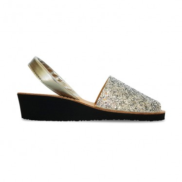Woman Leather Wedged Menorcan Sandals Glitter 562 Silver, by Pisable