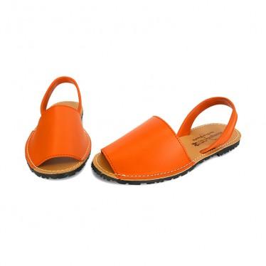 Woman Leather Basic Menorcan Sandals 550 Orange, by Pisable