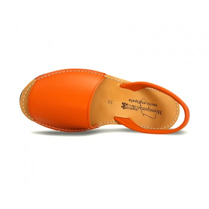 Woman Leather Basic Menorcan Sandals 550 Orange, by Pisable