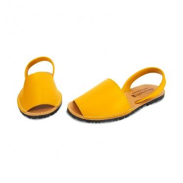 Avarcas Menorquinas Mujer Piel Básica 550 Amarillo, de Pisable