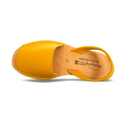 Woman Leather Basic Menorcan Sandals 550 Yellow, by Pisable