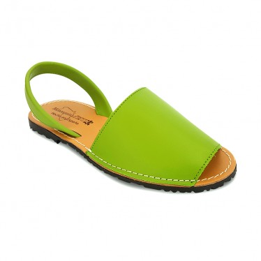 Woman Leather Basic Menorcan Sandals 550 Pistachio, by Pisable