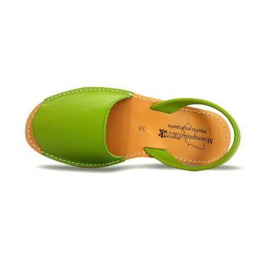 Woman Leather Basic Menorcan Sandals 550 Pistachio, by Pisable