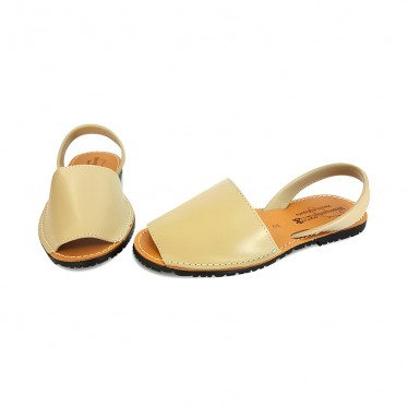 Woman Leather Basic Menorcan Sandals 550 Ice, by Pisable
