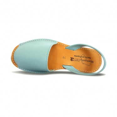 Woman Leather Basic Menorcan Sandals 550 Sky Blue, by Pisable