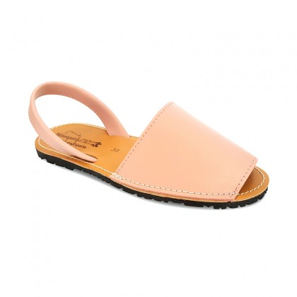 Woman Leather Basic Menorcan Sandals 550 Pale Pink, by Pisable