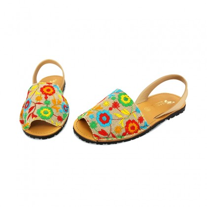 Woman Leather and Fabric Menorcan Sandals Flowers Embroidery 3370 Multicolor, by Pisable