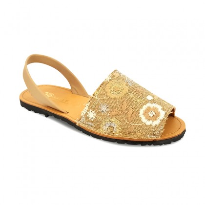 Woman Leather and Fabric Menorcan Sandals Flowers Embroidery 3370 Beige, by Pisable
