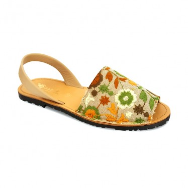 Woman Leather and Fabric Menorcan Sandals Flowers Embroidery 3370 Green, by Pisable