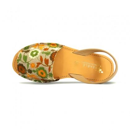 Avarcas Menorquinas Mujer Piel Y Textil Bordado Flores 3370 Verde, de Pisable