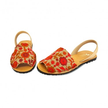 Woman Leather and Fabric Menorcan Sandals Flowers Embroidery 3370 Bordeaux, by Pisable