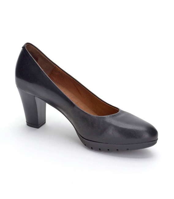 Woman Leather Comfort Pumps Medium Heeled 2220I Black, by Desireé