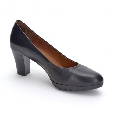 Woman Leather Comfort Pumps Medium Heeled 2220W Black, by Desireé