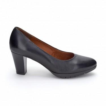 Woman Leather Comfort Pumps Medium Heeled 2220I Black, by Desireé