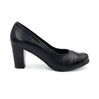 Woman Leather Comfort High Heeled Pumps Patent Toe 1148 Black, by Desireé