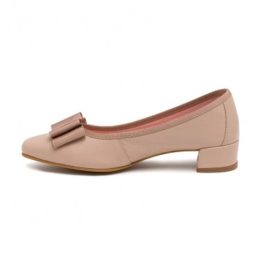Woman Leather Low Heeled Pumps Bow DUNIA Beige, by Amelie