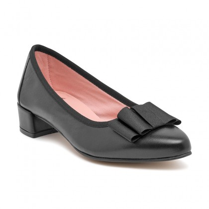 Woman Leather Low Heeled Pumps Bow DUNIA Black, by Amelie