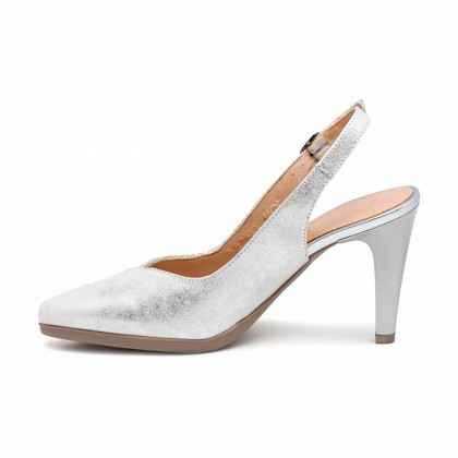 Woman Engraved Leather High Heeled Slingback Pumps SARA Silver, by Desireé