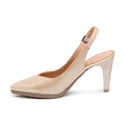 Woman Engraved Leather High Heeled Slingback Pumps SARA Gold, by Desireé
