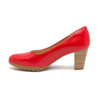 Woman Leather Medium Heeled High Comfort Pumps 2220 Red, by Desireé