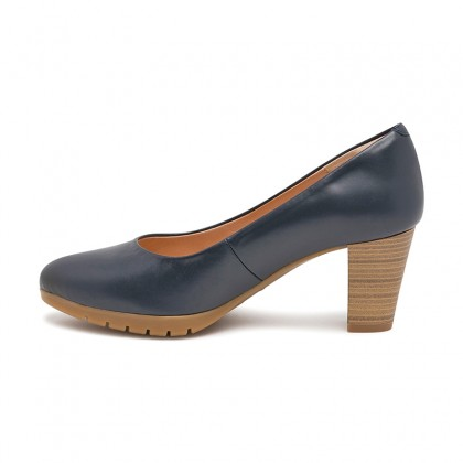 Woman Leather Medium Heeled High Comfort Pumps 2220 Navy, by Desireé
