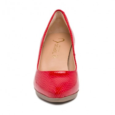 Woman Patent Leather Medium Heeled High Comfort Pumps MARA Red, by Desireé