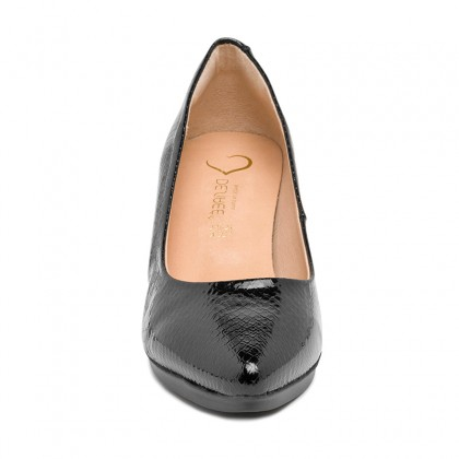 Woman Patent Leather Medium Heeled High Comfort Pumps MARA Black, by Desireé