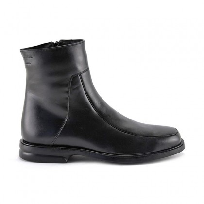 Man Leather Ankle Boots Rubber Sole Shearling Linning 6825 Black, by Donattelli Marttely Design