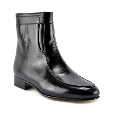 Man Leather Ankle Boots Leather Sole Leather Linning 5205 Black, by Donattelli Marttely Design