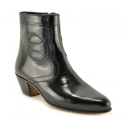 Man Leather Cuban Heel Ankle Boots Leather Sole Leather Linning 508 Black, by Donattelli Marttely Design