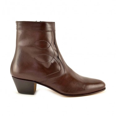 Man Leather Cuban Heel Ankle Boots Leather Sole Leather Linning 508 Mahogany, by Donattelli Marttely Design