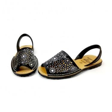 Woman Openwork Leather Menorcan Sandals Metallic Ornaments 387 Black, by C. Ortuño