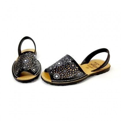 Woman Openwork Leather Menorcan Sandals Metallic Ornaments 387 Black, by C. Ortuño