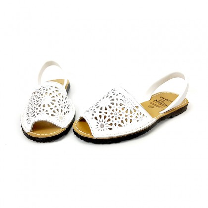 Woman Openwork Leather Menorcan Sandals Metallic Ornaments 387 White, by C. Ortuño
