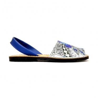 Woman Leather Menorcan Sandals Floral Print 376 Blue, by C. Ortuño